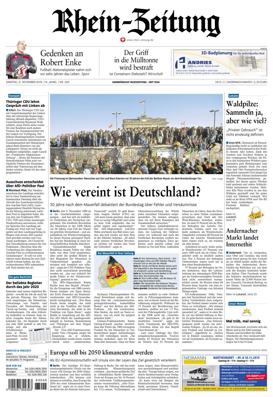Rhein-Zeitung Andernach & Mayen vom Samstag, 09.11.2019