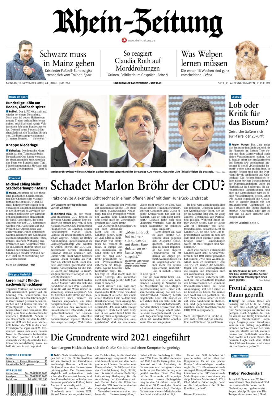 Rhein-Zeitung Andernach & Mayen vom Montag, 11.11.2019