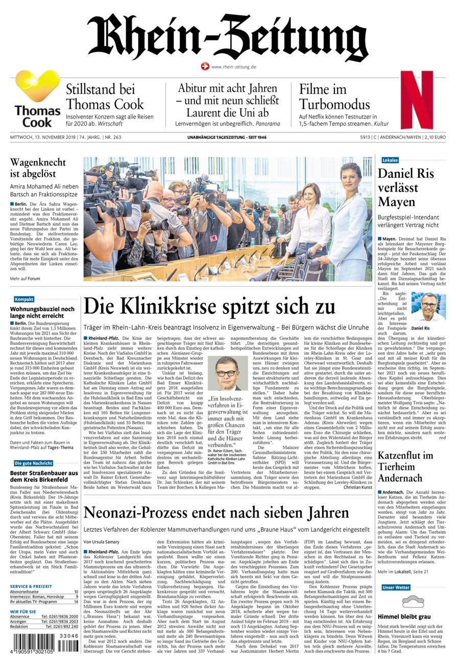 Rhein-Zeitung Andernach & Mayen vom Mittwoch, 13.11.2019