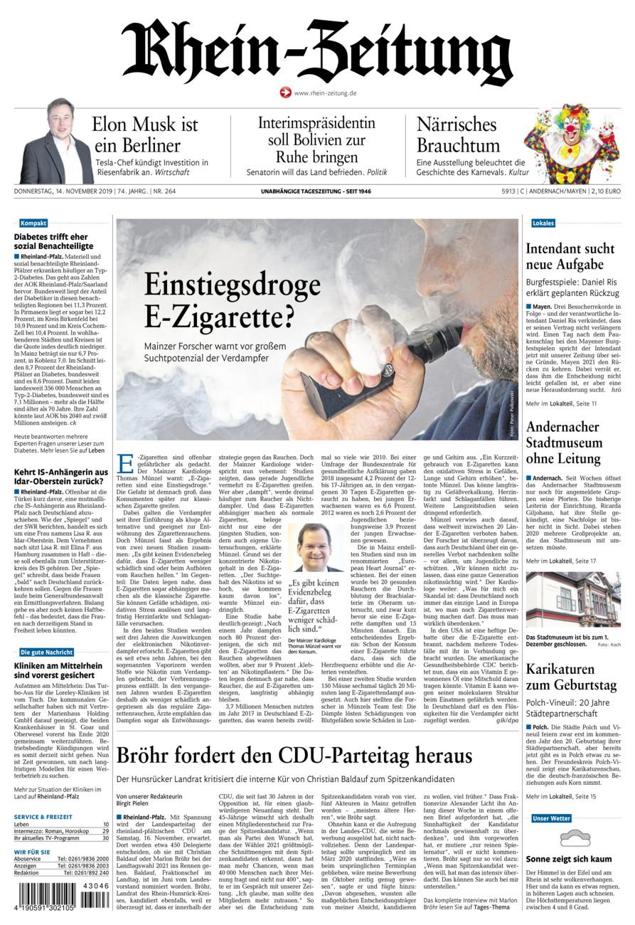 Rhein-Zeitung Andernach & Mayen vom Donnerstag, 14.11.2019