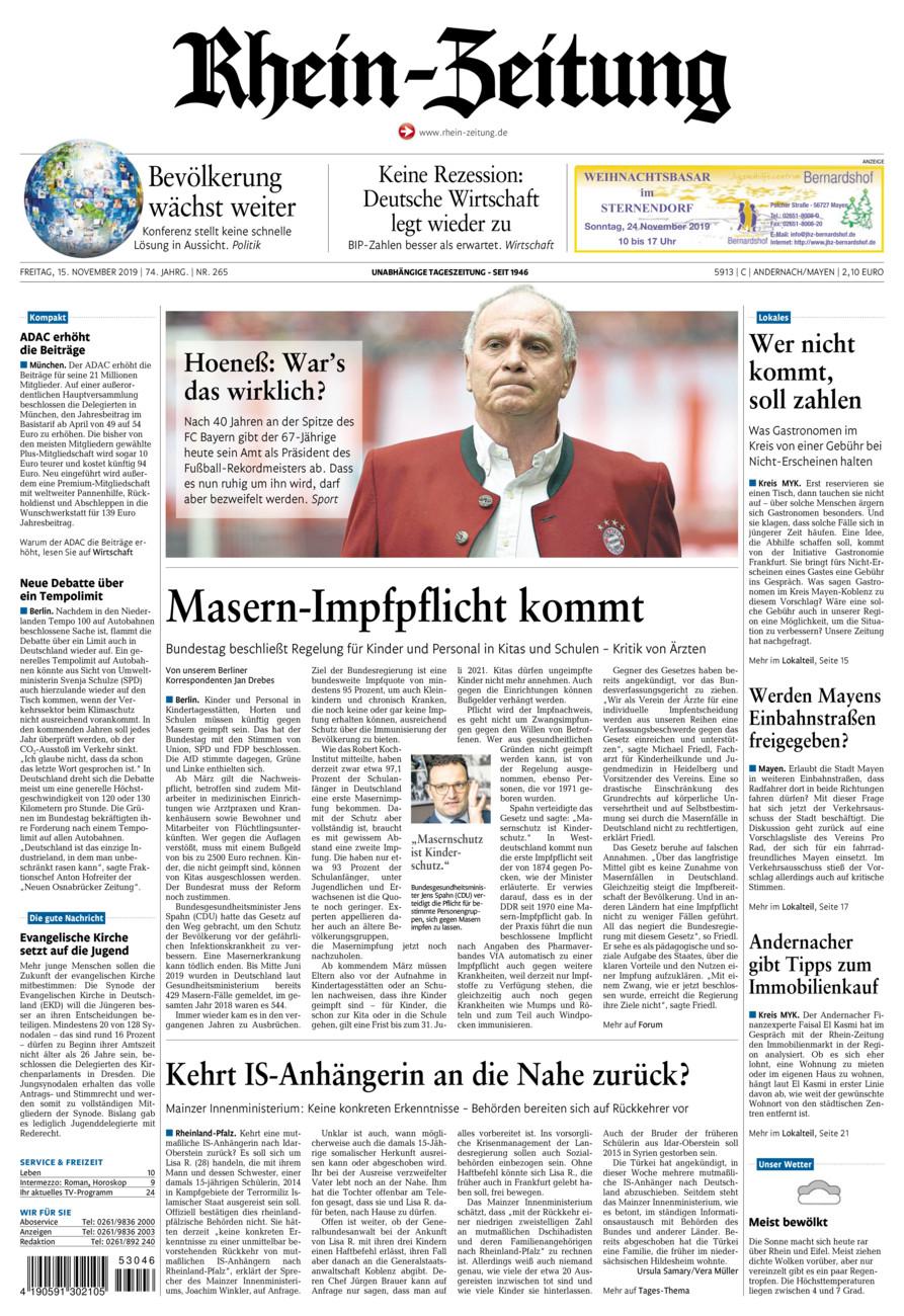 Rhein-Zeitung Andernach & Mayen vom Freitag, 15.11.2019