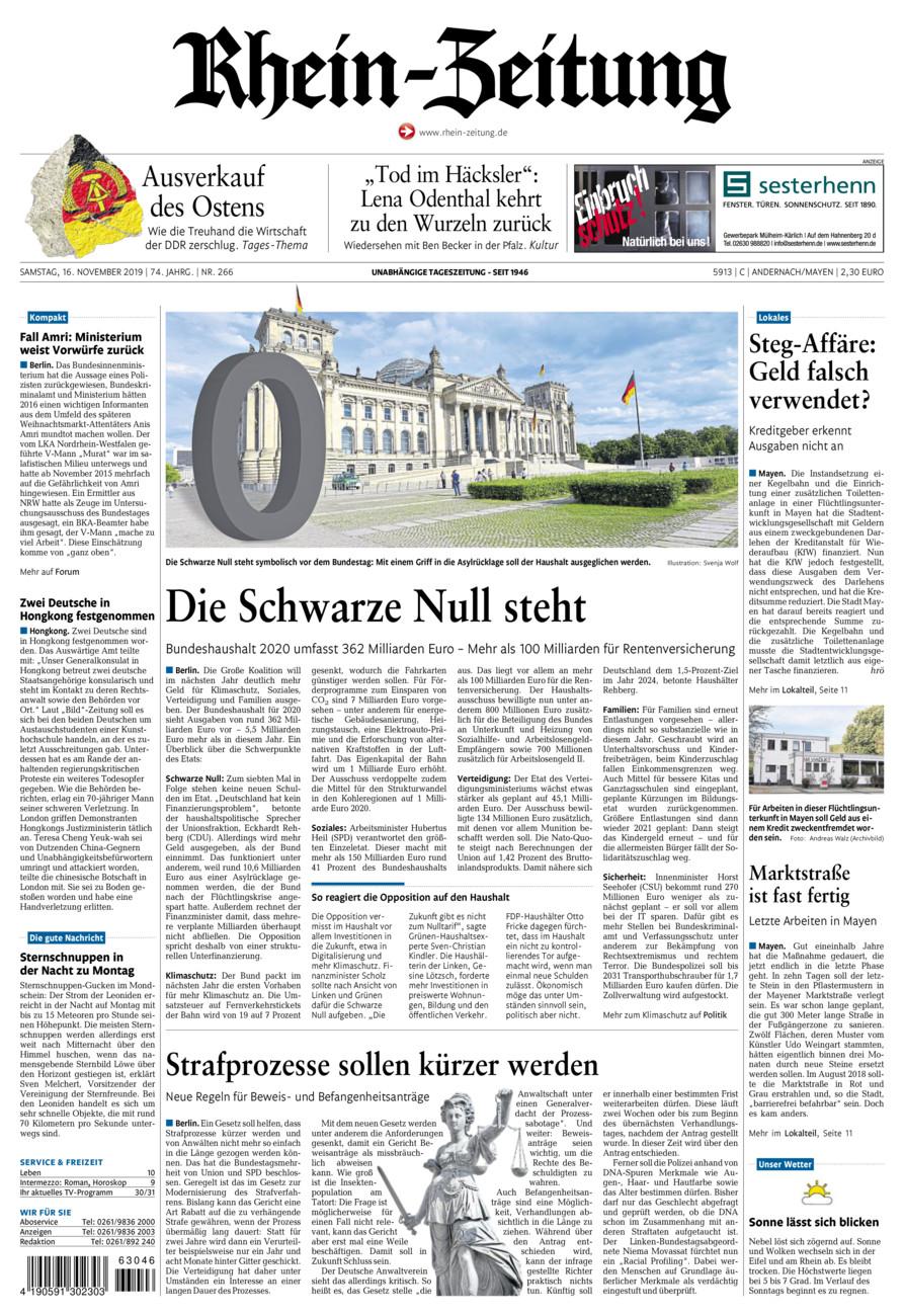 Rhein-Zeitung Andernach & Mayen vom Samstag, 16.11.2019
