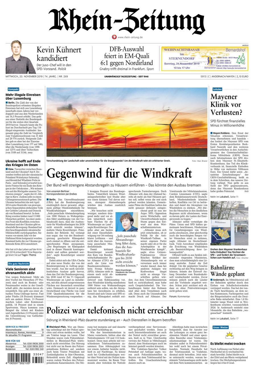 Rhein-Zeitung Andernach & Mayen vom Mittwoch, 20.11.2019