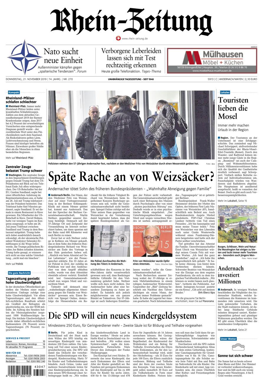Rhein-Zeitung Andernach & Mayen vom Donnerstag, 21.11.2019