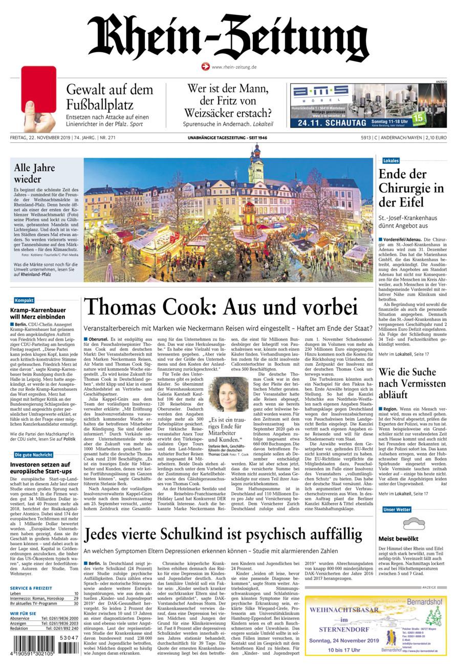 Rhein-Zeitung Andernach & Mayen vom Freitag, 22.11.2019