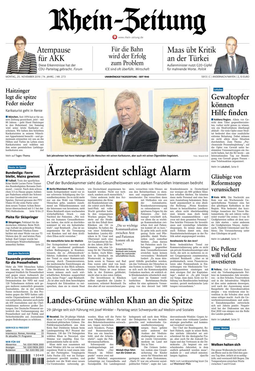 Rhein-Zeitung Andernach & Mayen vom Montag, 25.11.2019