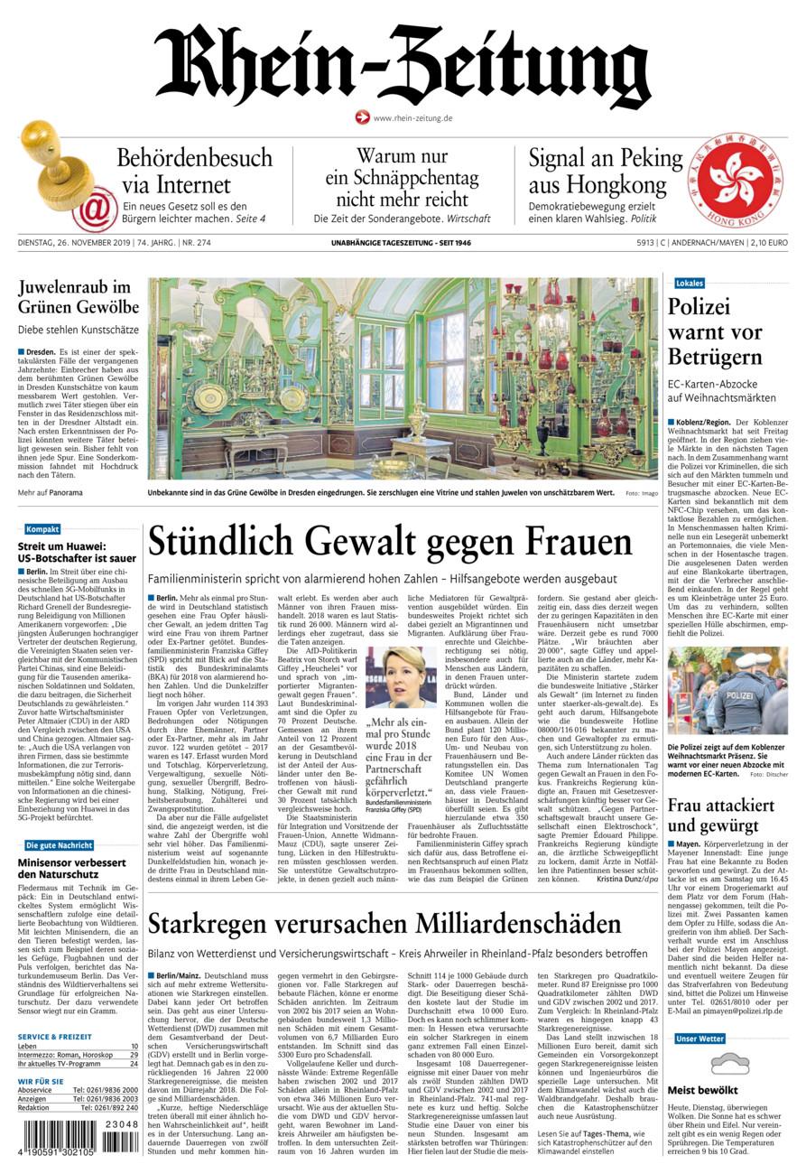 Rhein-Zeitung Andernach & Mayen vom Dienstag, 26.11.2019