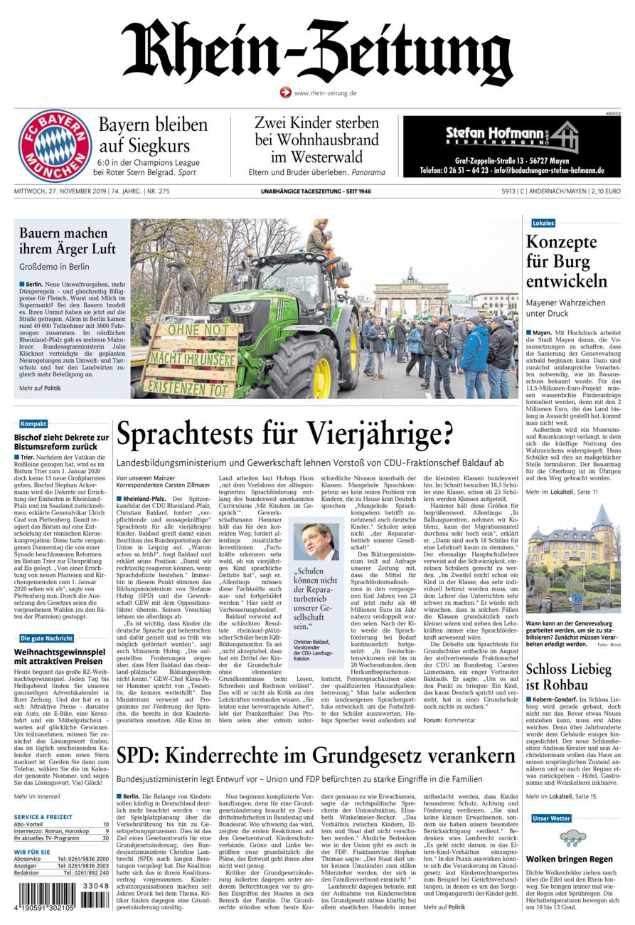 Rhein-Zeitung Andernach & Mayen vom Mittwoch, 27.11.2019