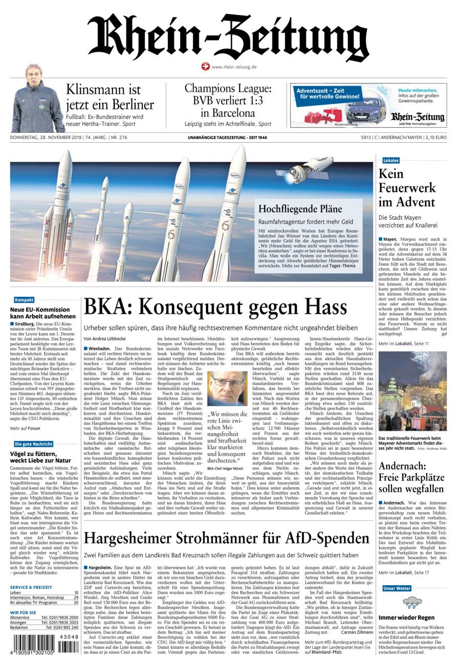 Rhein-Zeitung Andernach & Mayen vom Donnerstag, 28.11.2019