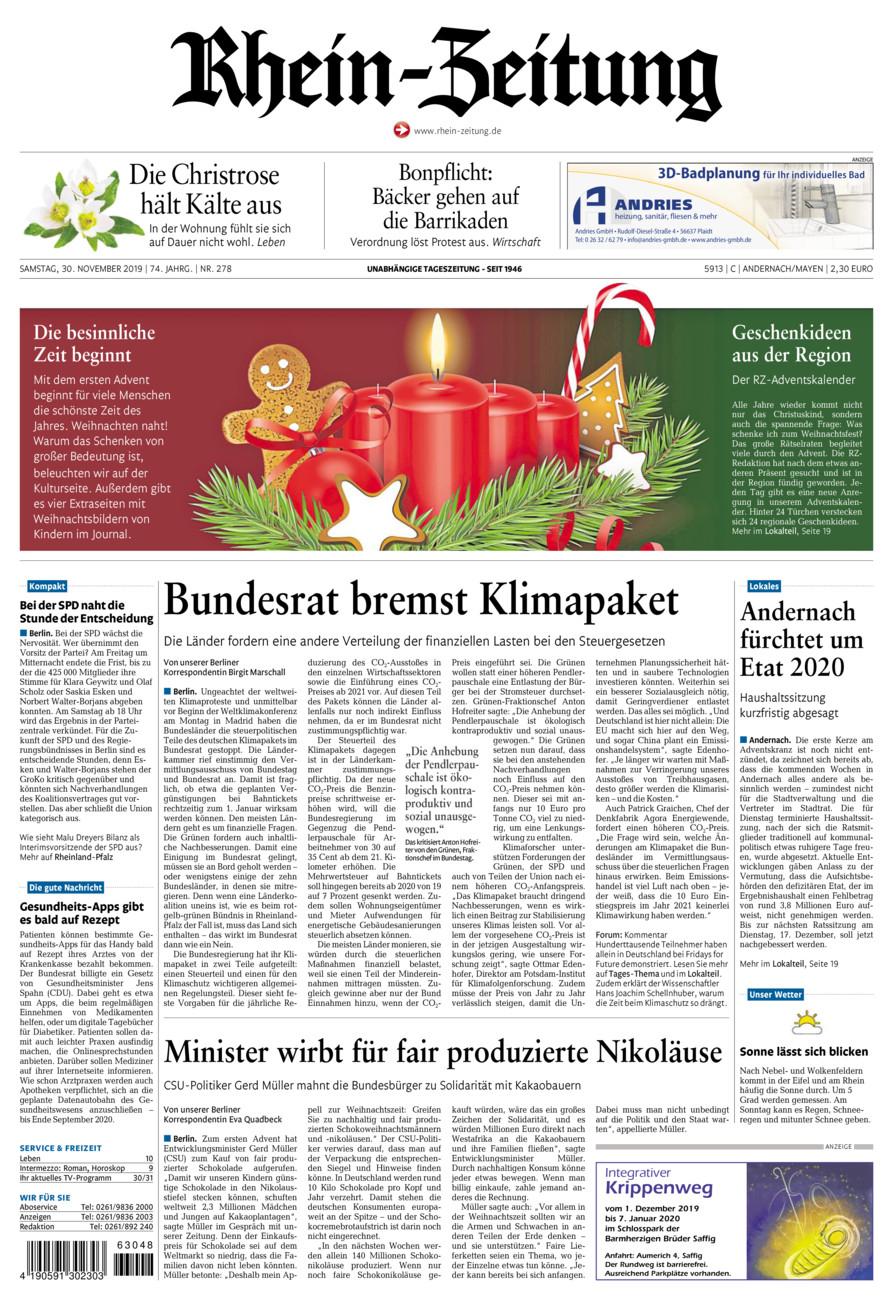 Rhein-Zeitung Andernach & Mayen vom Samstag, 30.11.2019
