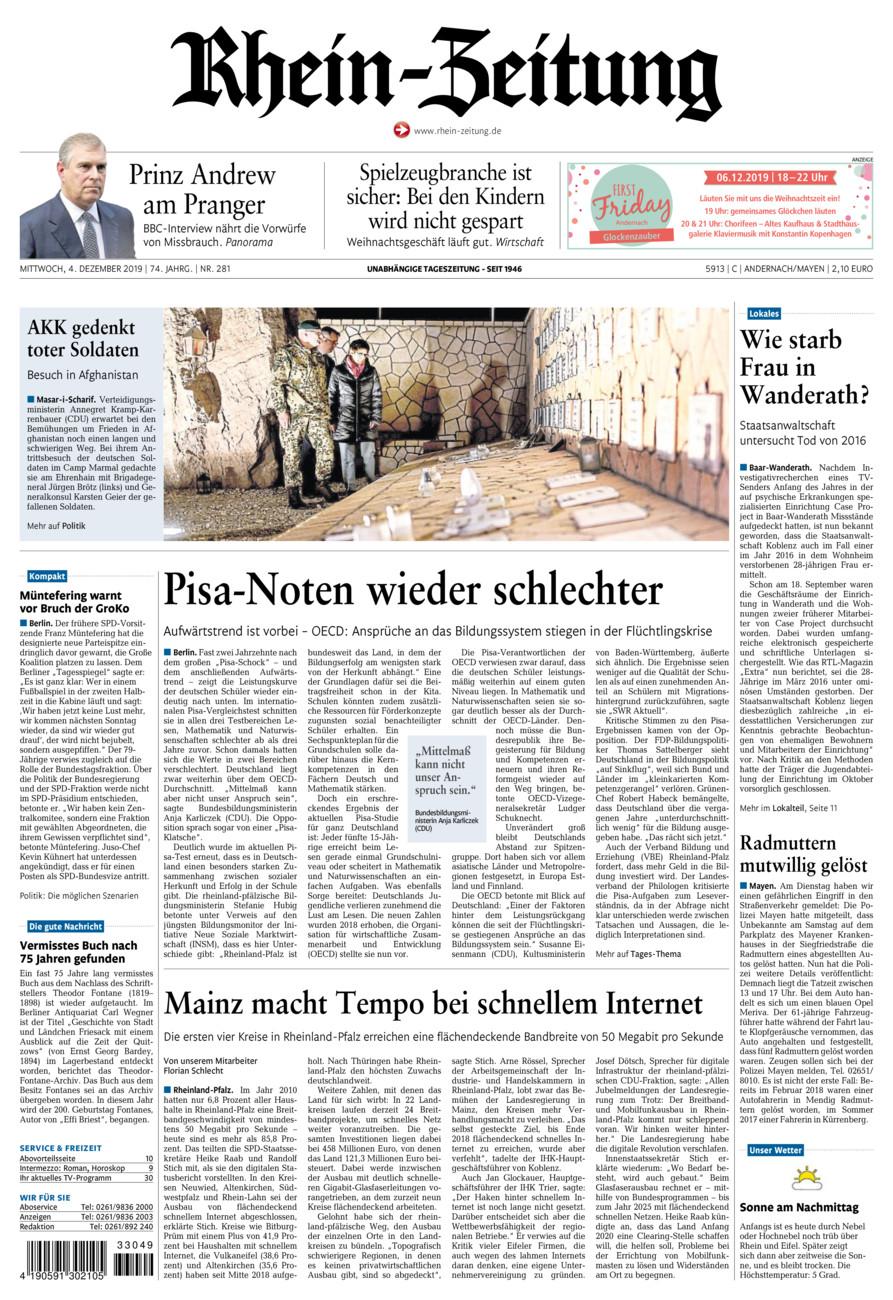 Rhein-Zeitung Andernach & Mayen vom Mittwoch, 04.12.2019