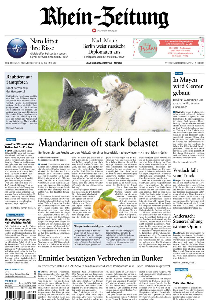 Rhein-Zeitung Andernach & Mayen vom Donnerstag, 05.12.2019