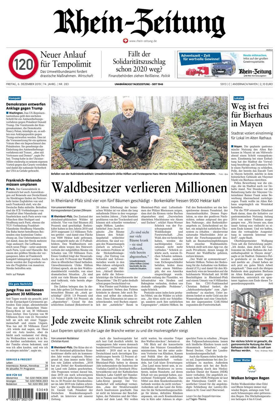 Rhein-Zeitung Andernach & Mayen vom Freitag, 06.12.2019
