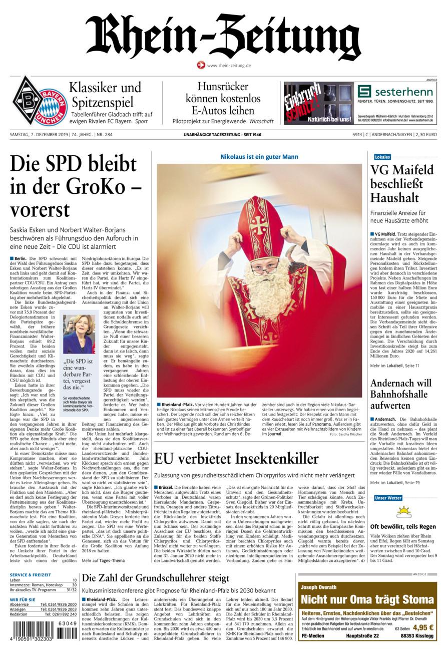 Rhein-Zeitung Andernach & Mayen vom Samstag, 07.12.2019