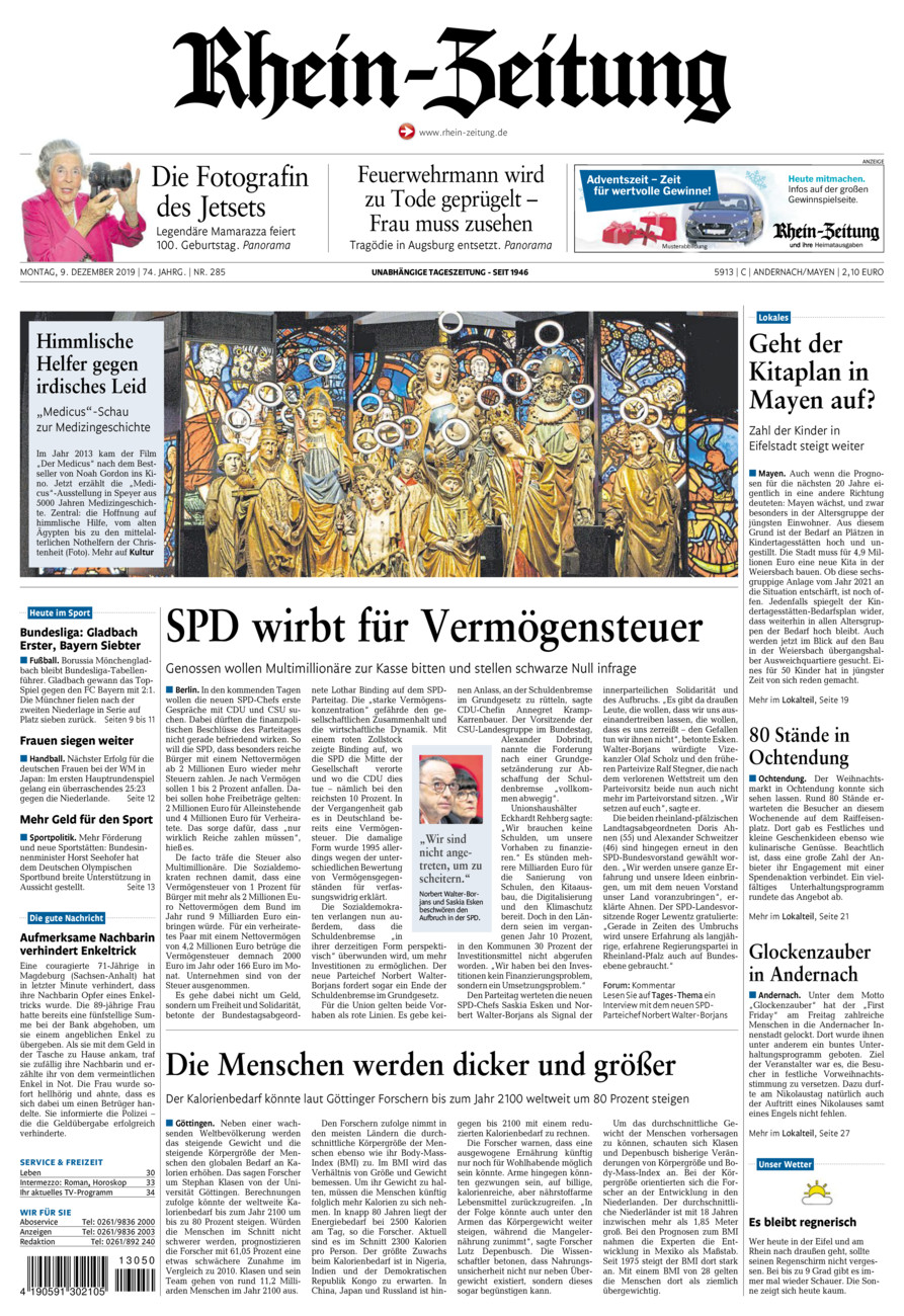 Rhein-Zeitung Andernach & Mayen vom Montag, 09.12.2019