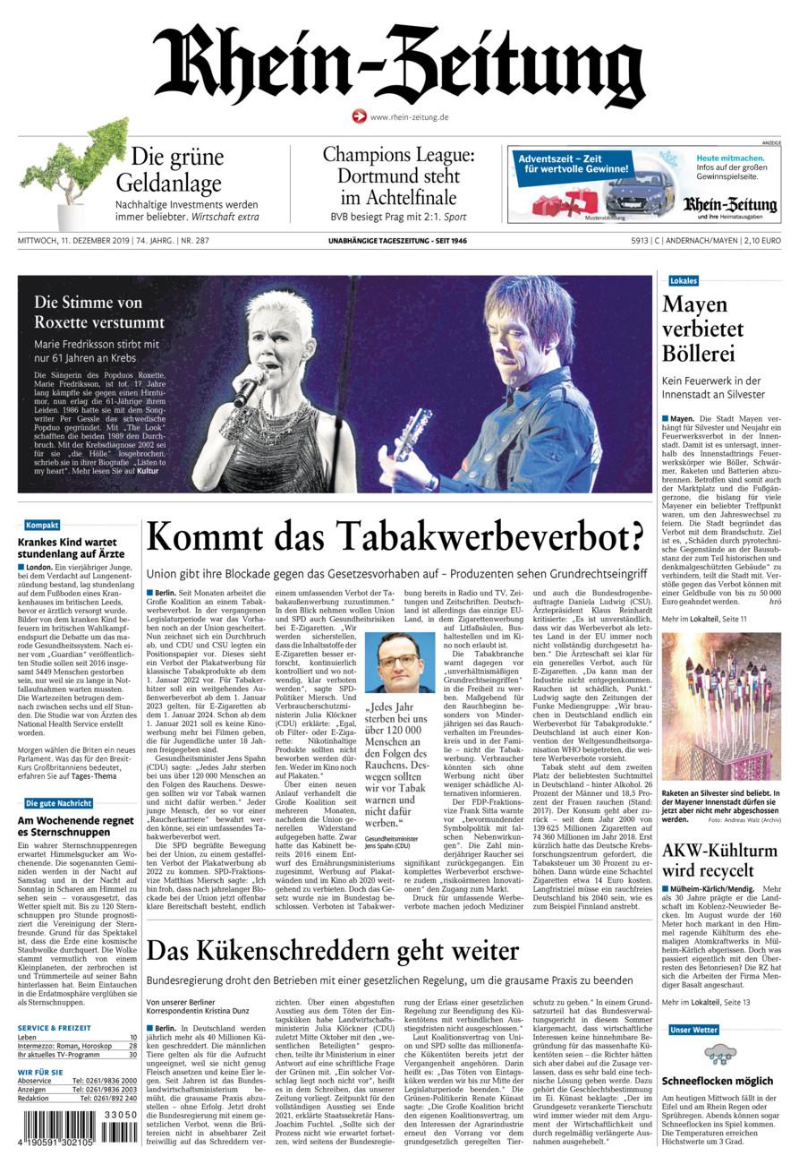 Rhein-Zeitung Andernach & Mayen vom Mittwoch, 11.12.2019