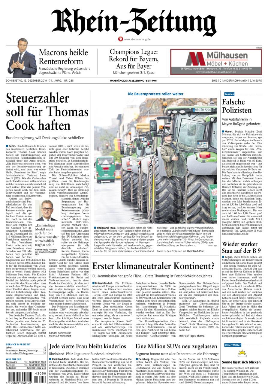 Rhein-Zeitung Andernach & Mayen vom Donnerstag, 12.12.2019