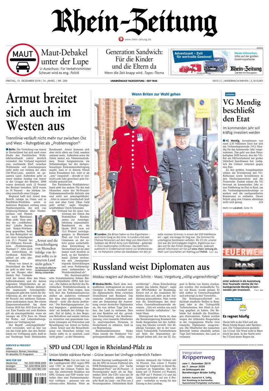 Rhein-Zeitung Andernach & Mayen vom Freitag, 13.12.2019