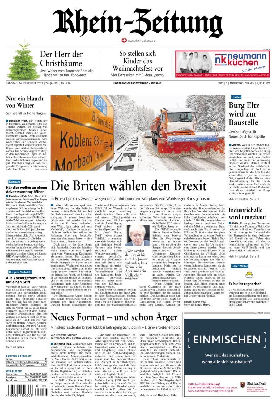 Rhein-Zeitung Andernach & Mayen vom Samstag, 14.12.2019