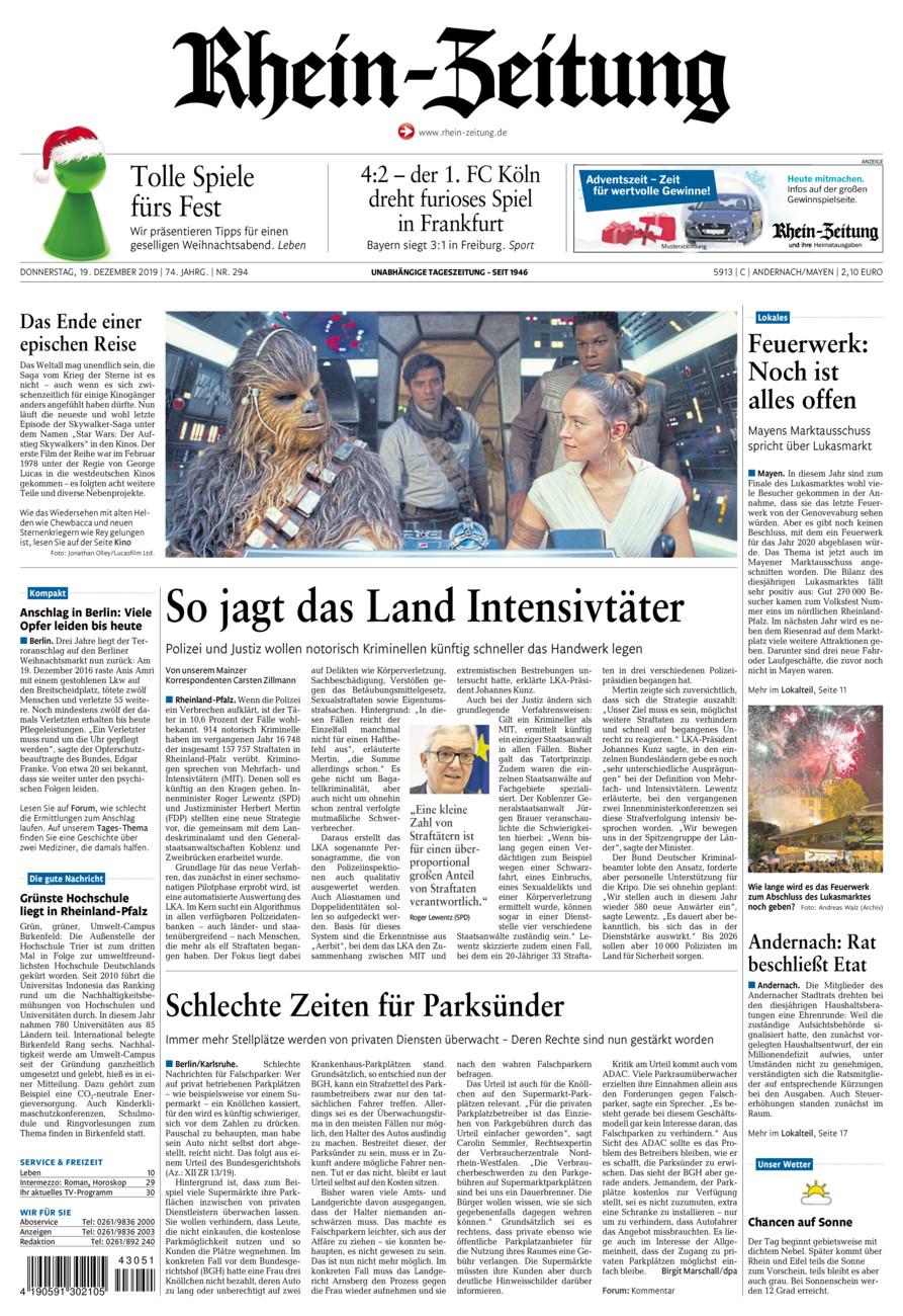 Rhein-Zeitung Andernach & Mayen vom Donnerstag, 19.12.2019