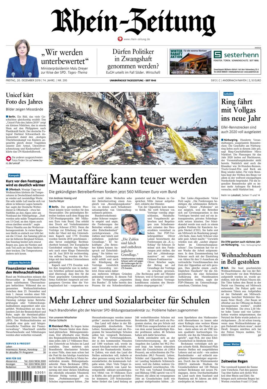Rhein-Zeitung Andernach & Mayen vom Freitag, 20.12.2019