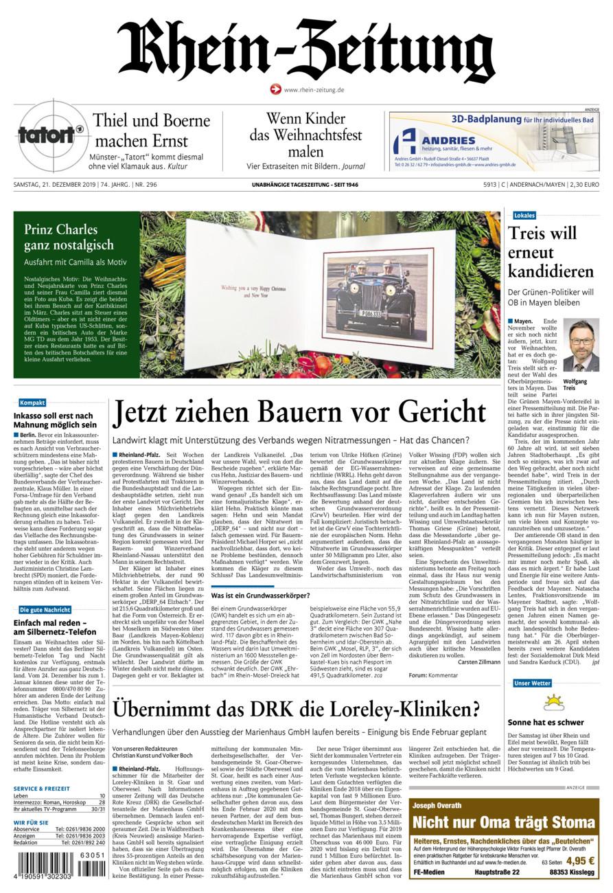 Rhein-Zeitung Andernach & Mayen vom Samstag, 21.12.2019