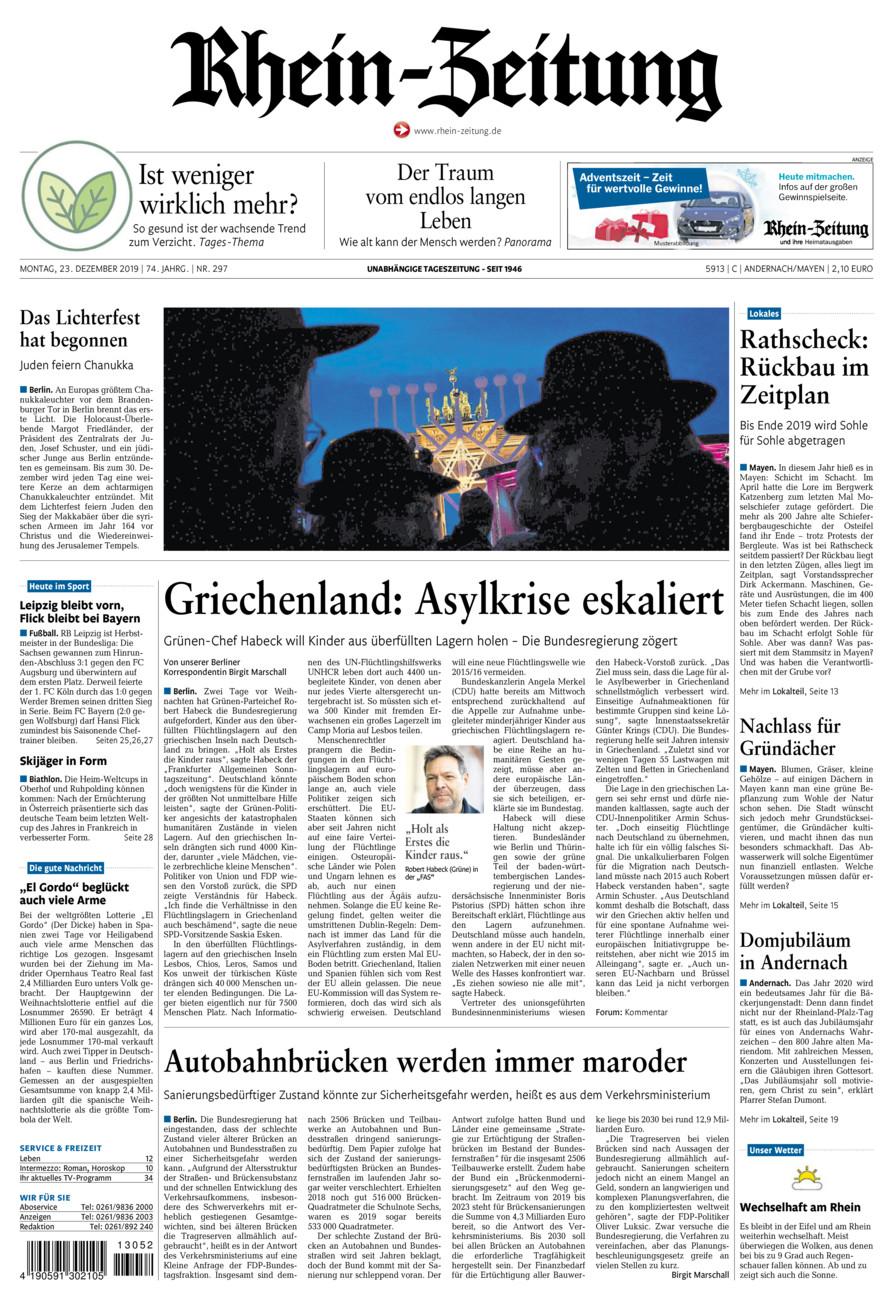 Rhein-Zeitung Andernach & Mayen vom Montag, 23.12.2019