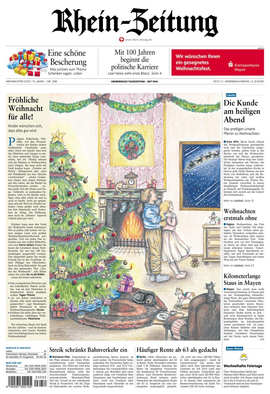 Rhein-Zeitung Andernach & Mayen vom Dienstag, 24.12.2019