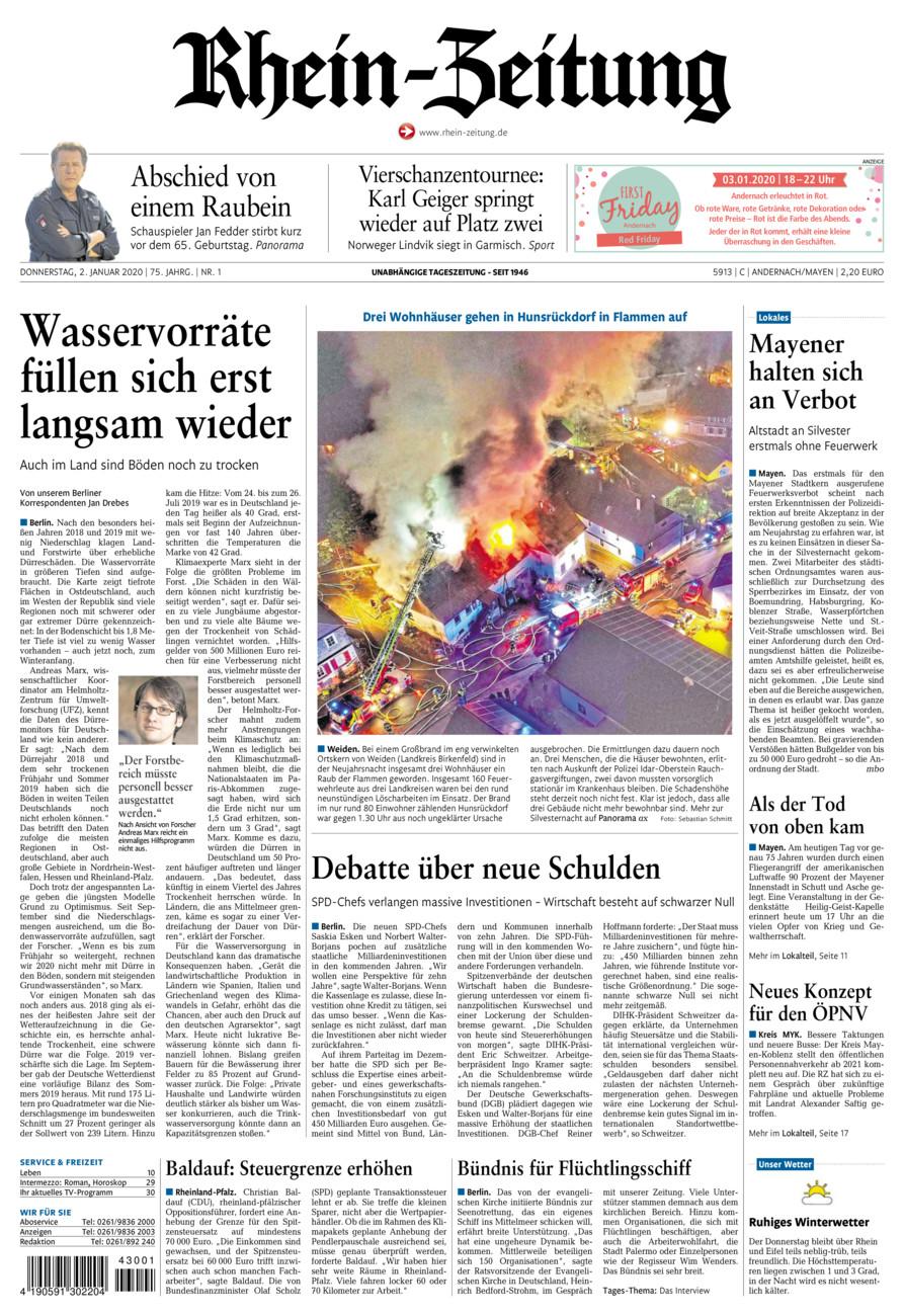 Rhein-Zeitung Andernach & Mayen vom Donnerstag, 02.01.2020