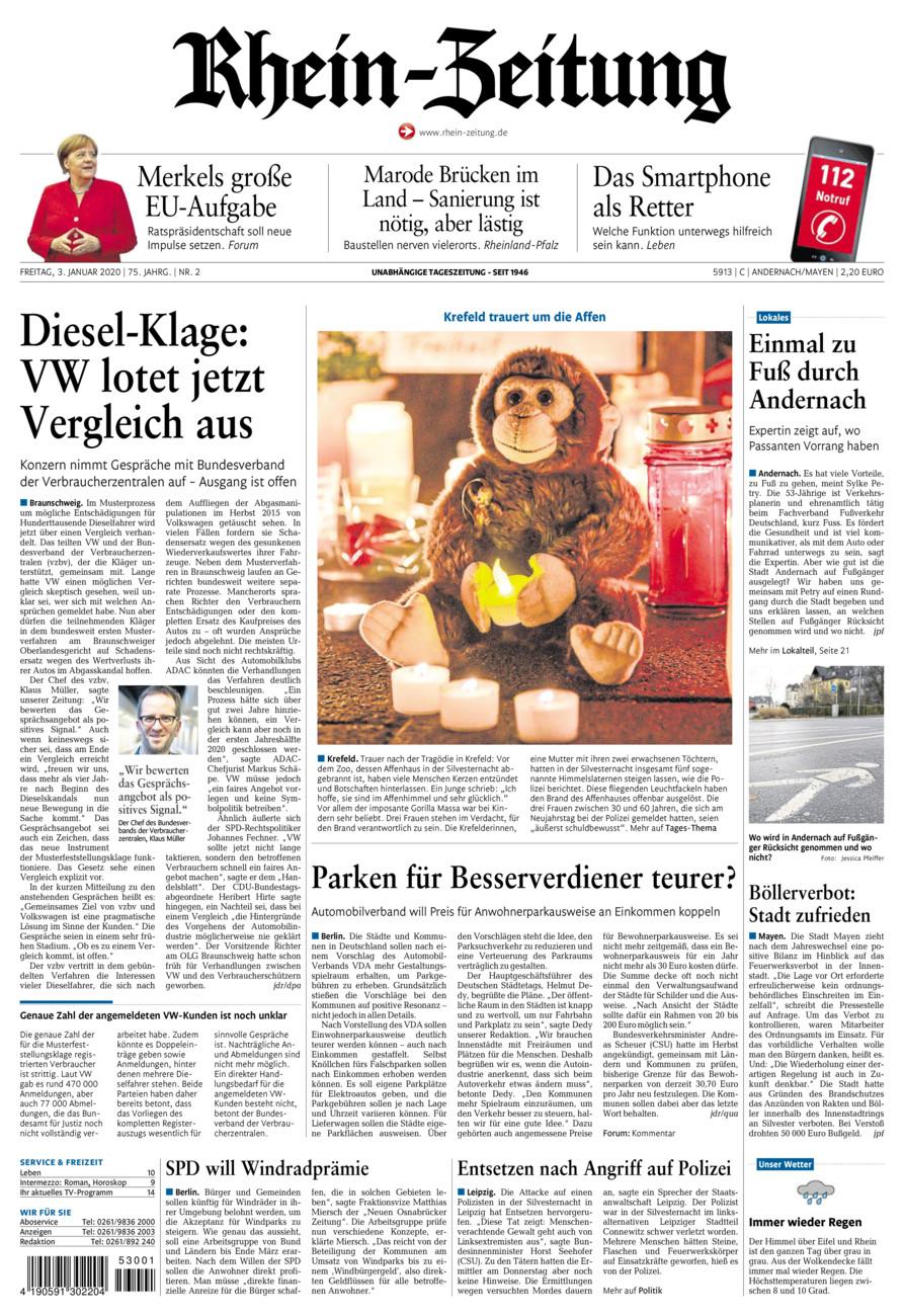 Rhein-Zeitung Andernach & Mayen vom Freitag, 03.01.2020