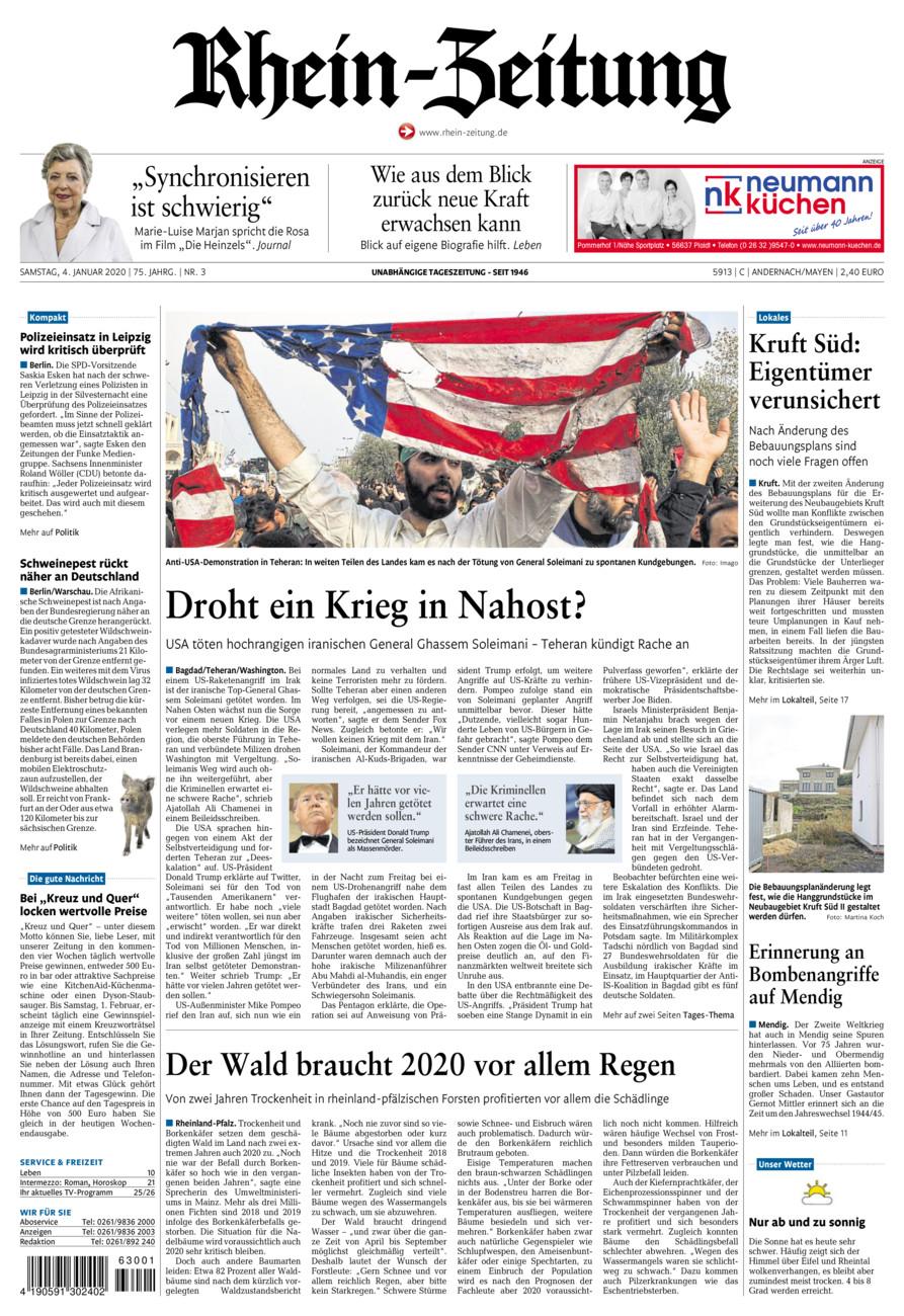 Rhein-Zeitung Andernach & Mayen vom Samstag, 04.01.2020