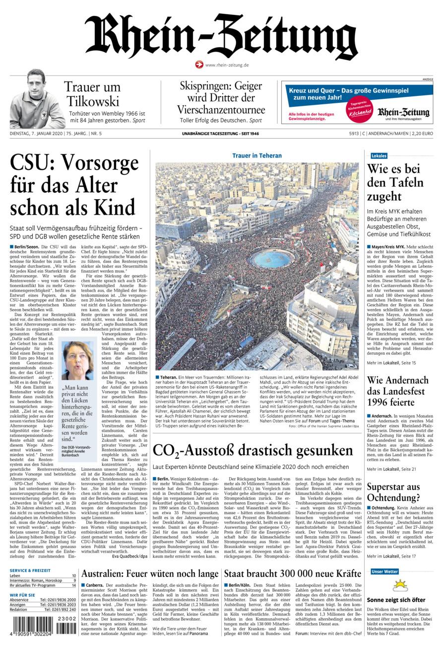 Rhein-Zeitung Andernach & Mayen vom Dienstag, 07.01.2020