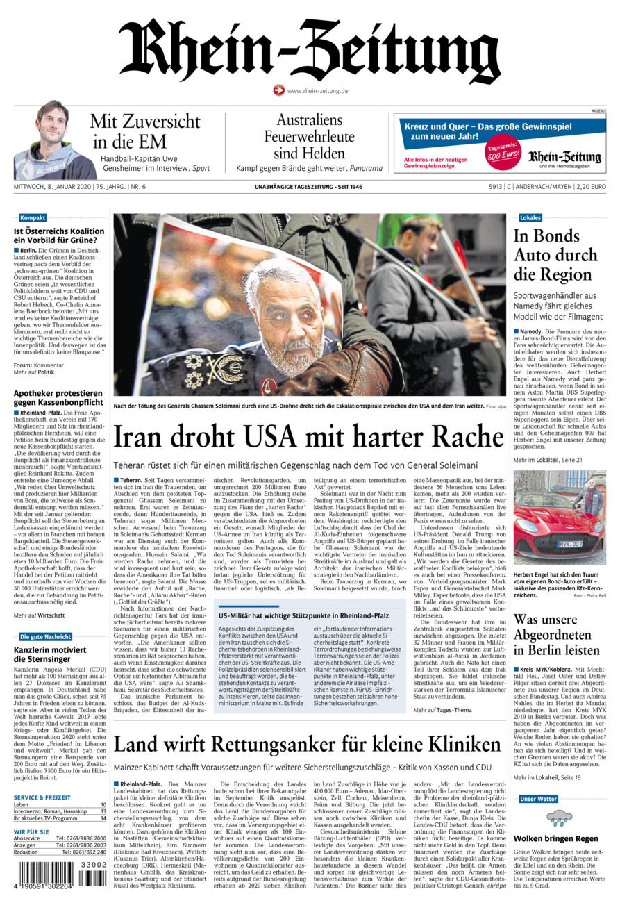 Rhein-Zeitung Andernach & Mayen vom Mittwoch, 08.01.2020
