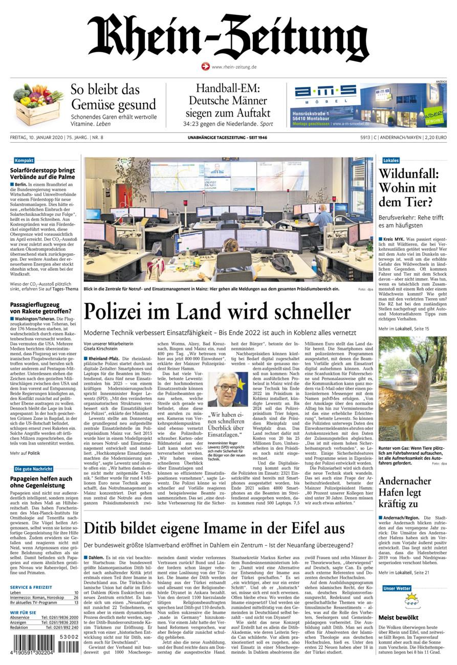 Rhein-Zeitung Andernach & Mayen vom Freitag, 10.01.2020