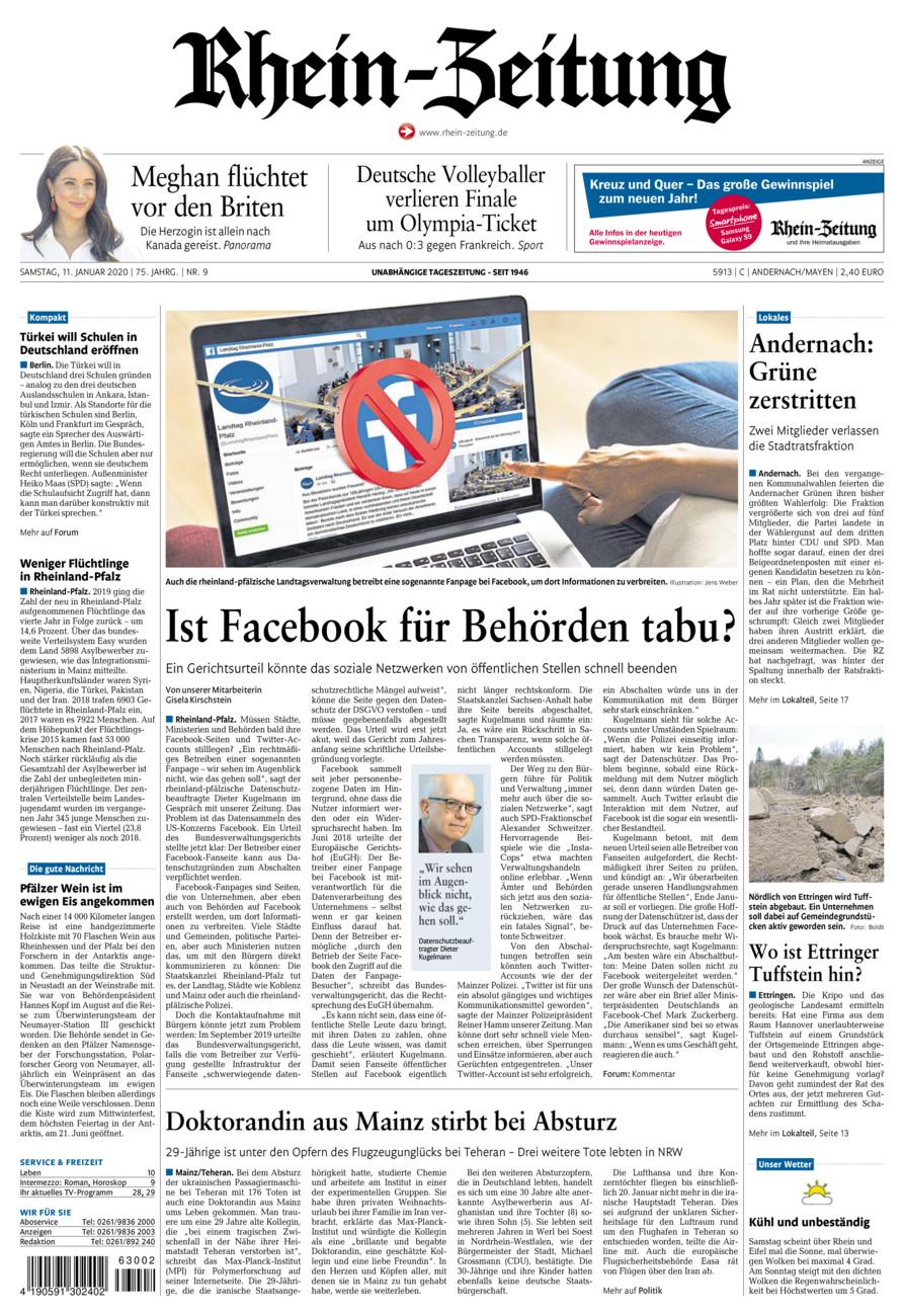Rhein-Zeitung Andernach & Mayen vom Samstag, 11.01.2020