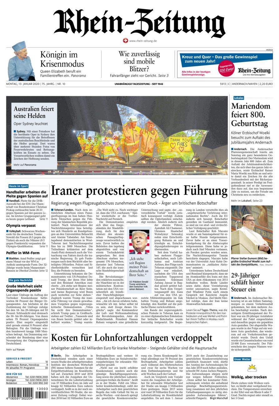 Rhein-Zeitung Andernach & Mayen vom Montag, 13.01.2020