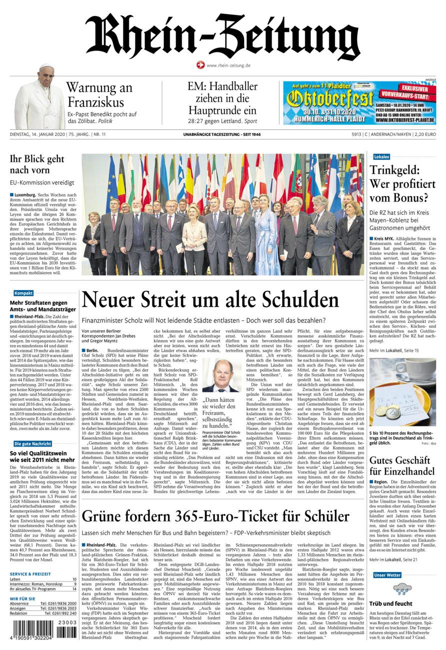 Rhein-Zeitung Andernach & Mayen vom Dienstag, 14.01.2020