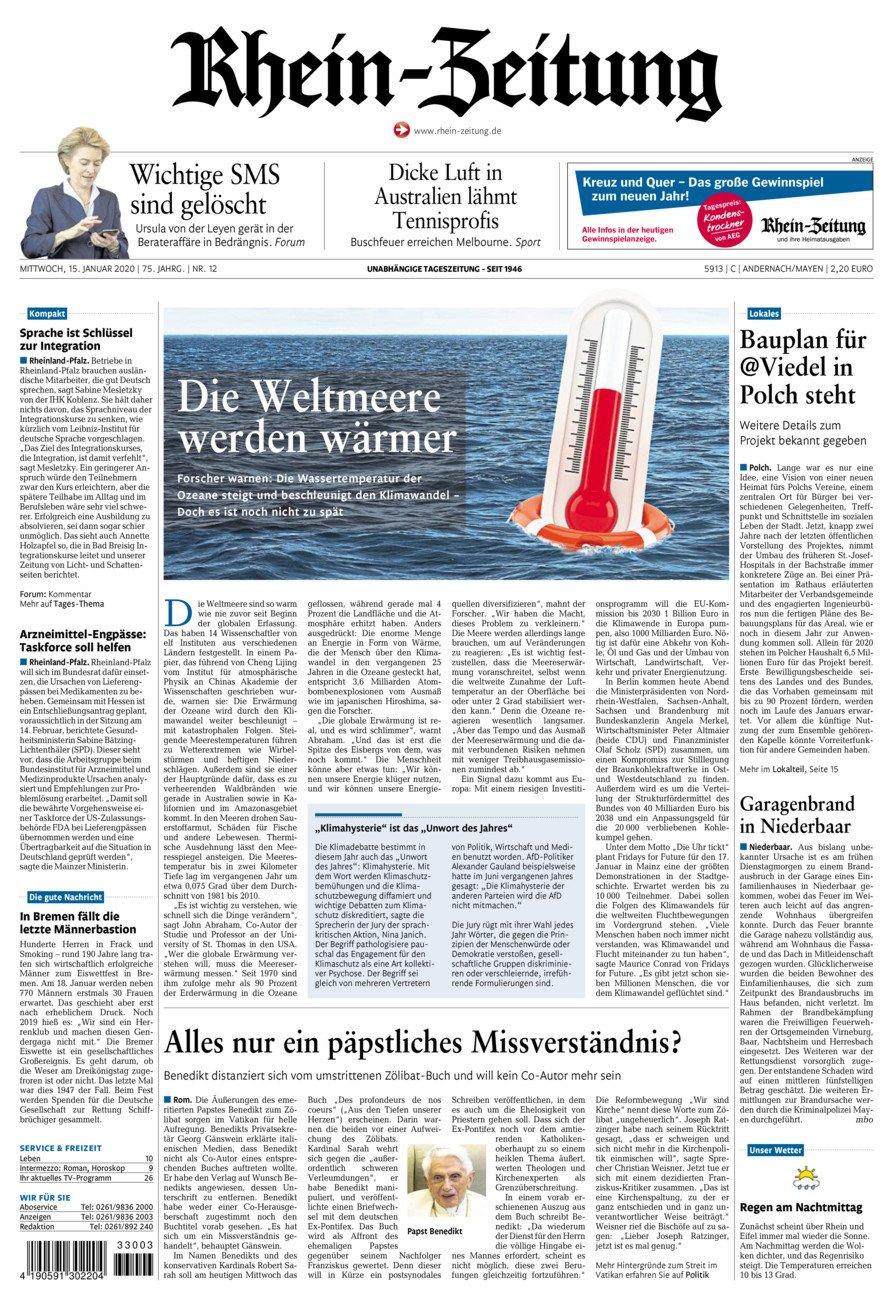 Rhein-Zeitung Andernach & Mayen vom Mittwoch, 15.01.2020
