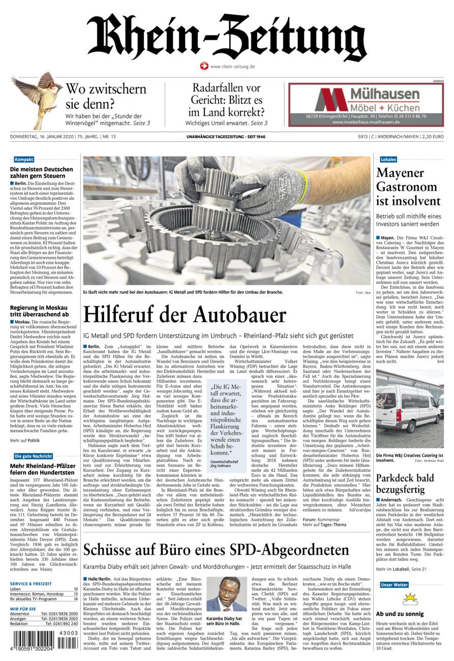 Rhein-Zeitung Andernach & Mayen vom Donnerstag, 16.01.2020