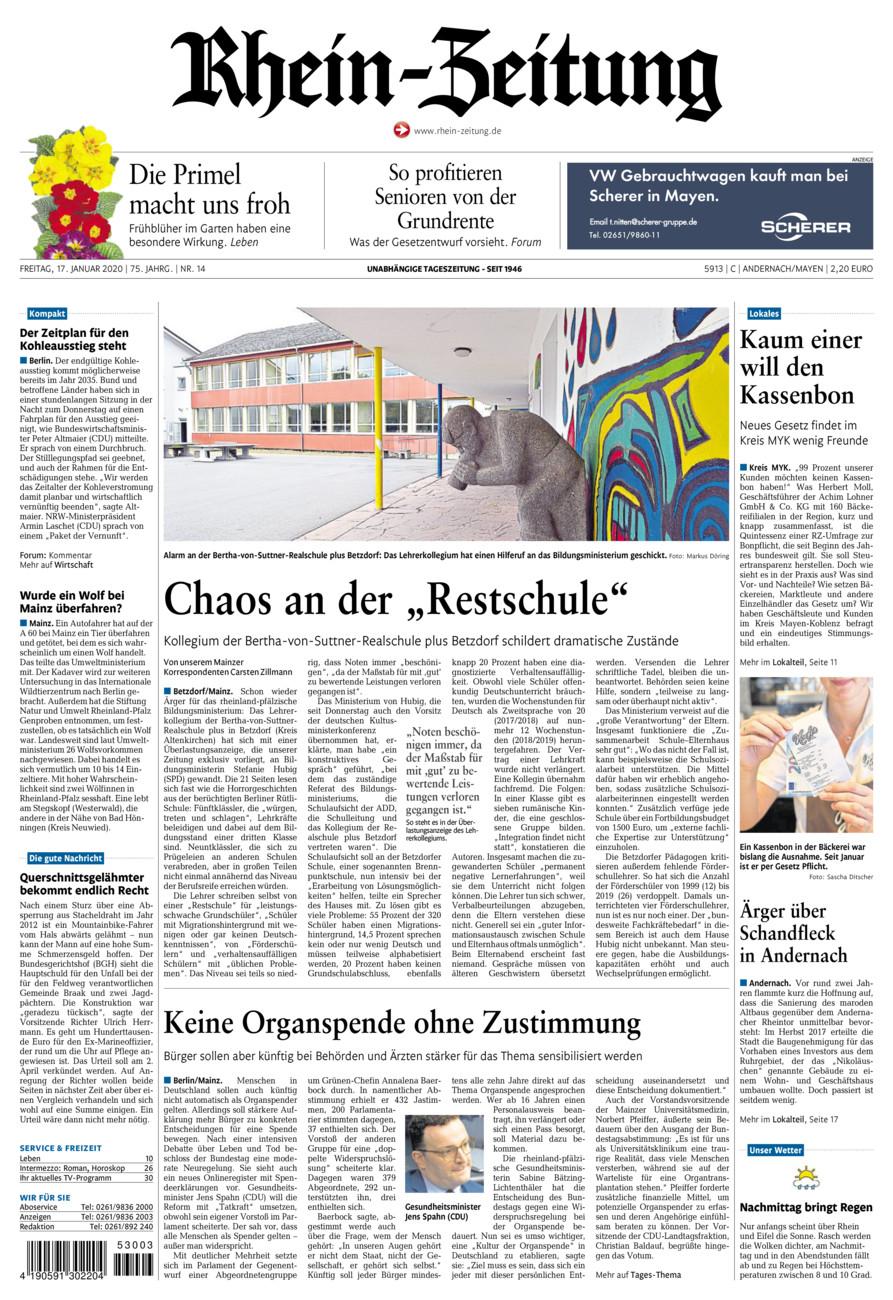 Rhein-Zeitung Andernach & Mayen vom Freitag, 17.01.2020