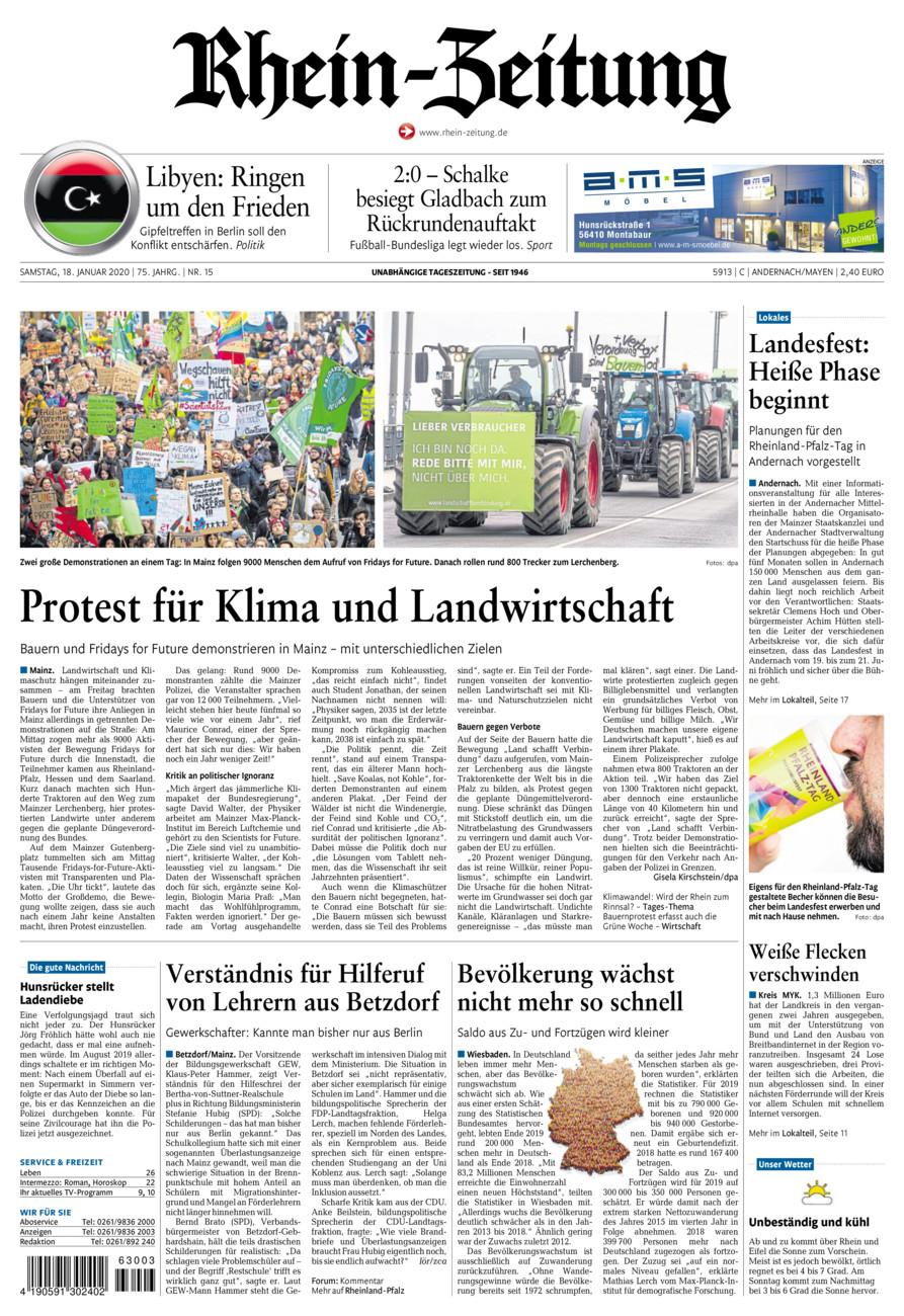 Rhein-Zeitung Andernach & Mayen vom Samstag, 18.01.2020