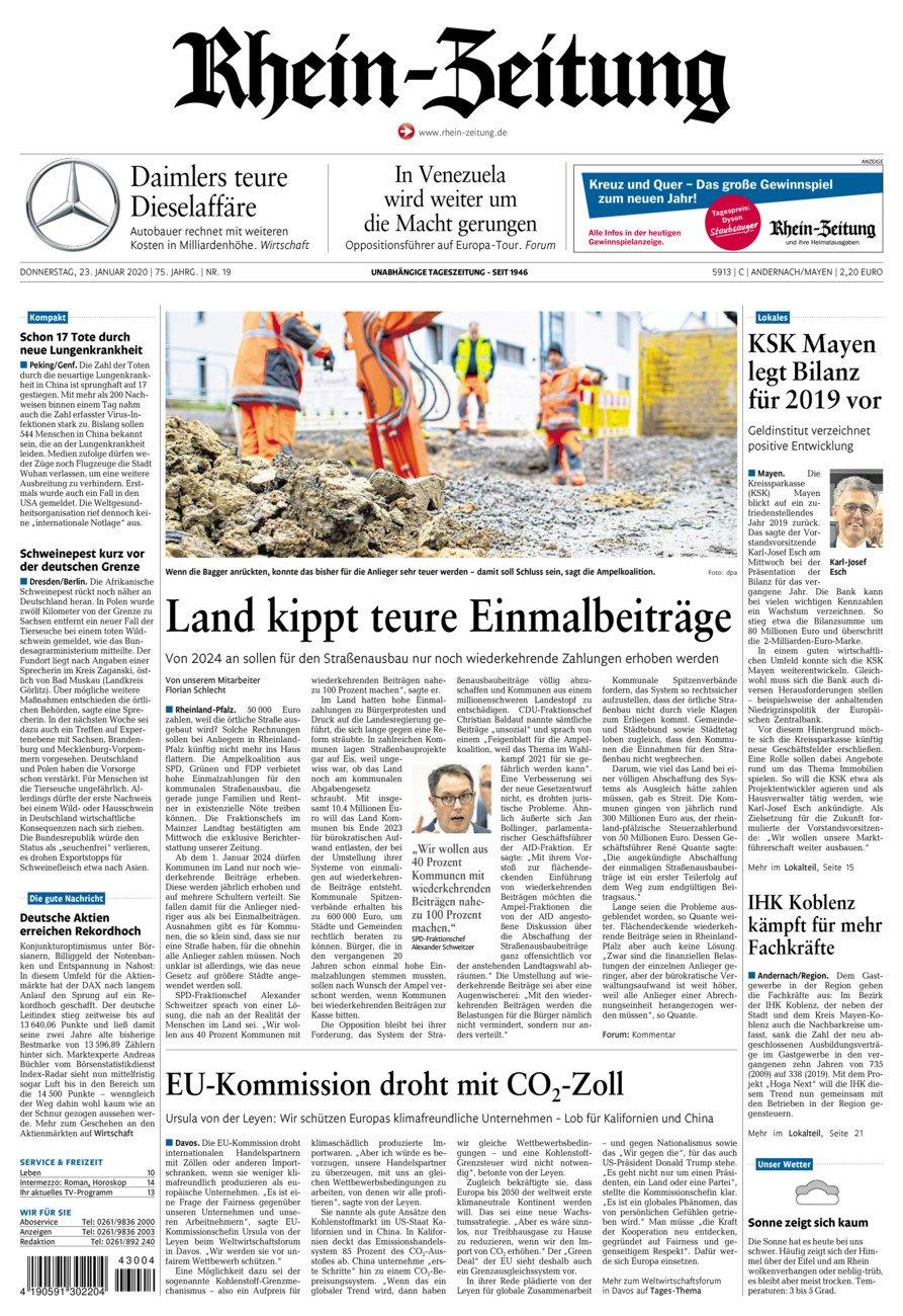 Rhein-Zeitung Andernach & Mayen vom Donnerstag, 23.01.2020
