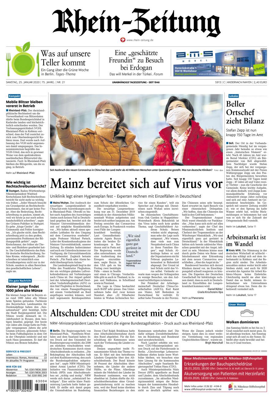 Rhein-Zeitung Andernach & Mayen vom Samstag, 25.01.2020