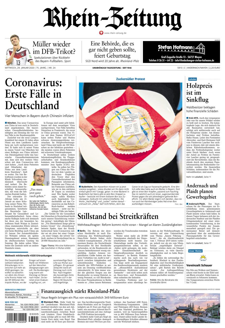 Rhein-Zeitung Andernach & Mayen vom Mittwoch, 29.01.2020