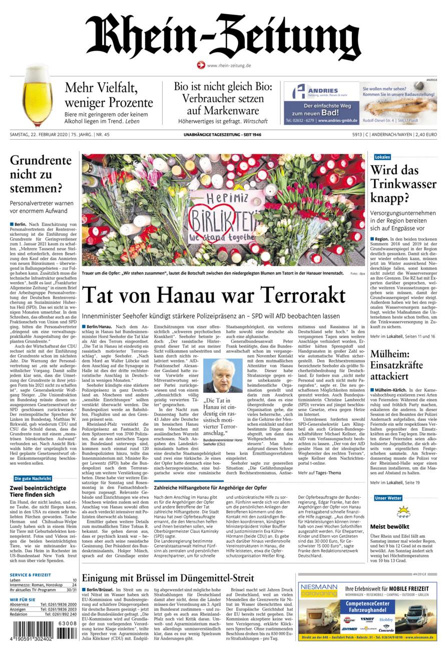 Rhein-Zeitung Andernach & Mayen vom Samstag, 22.02.2020