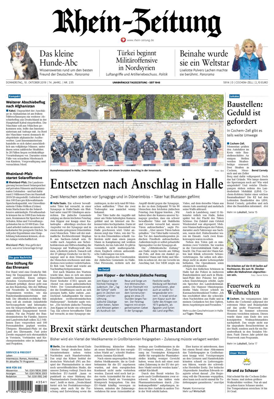 Rhein-Zeitung Kreis Cochem-Zell vom Donnerstag, 10.10.2019