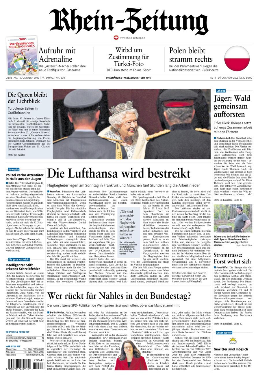Rhein-Zeitung Kreis Cochem-Zell vom Dienstag, 15.10.2019