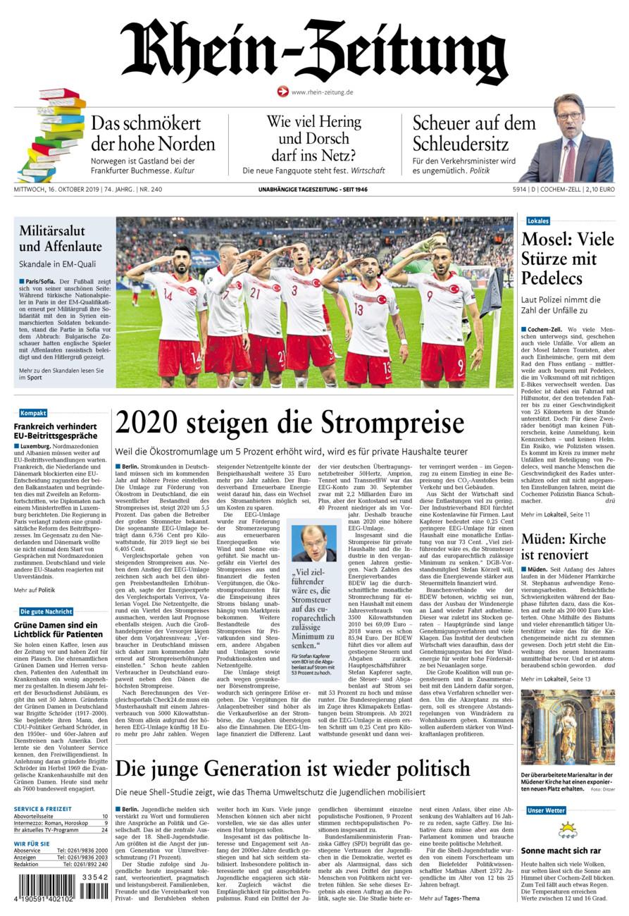 Rhein-Zeitung Kreis Cochem-Zell vom Mittwoch, 16.10.2019