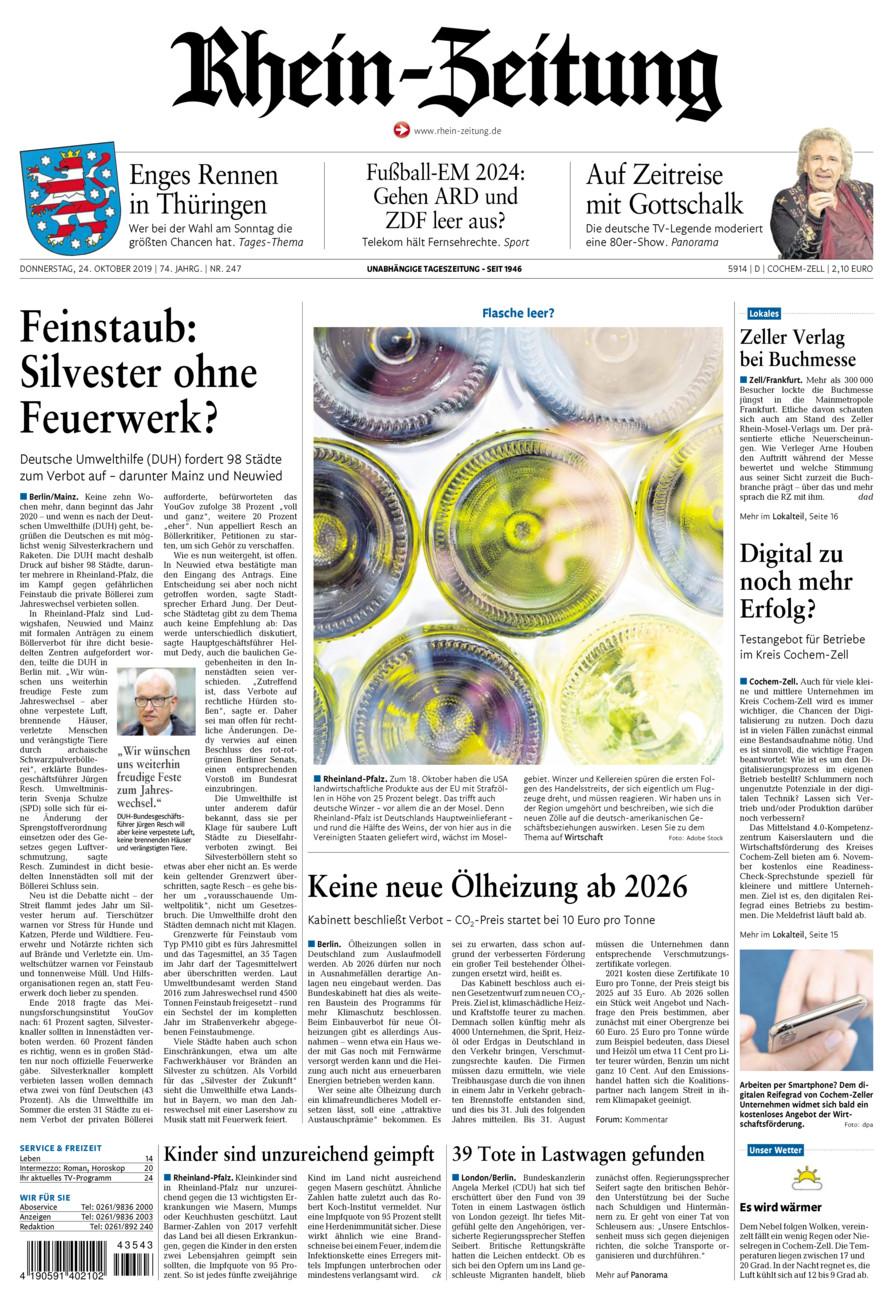 Rhein-Zeitung Kreis Cochem-Zell vom Donnerstag, 24.10.2019