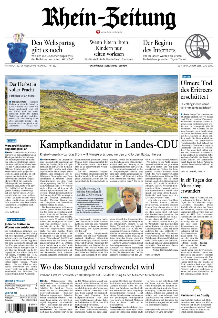 Rhein-Zeitung Kreis Cochem-Zell vom Mittwoch, 30.10.2019